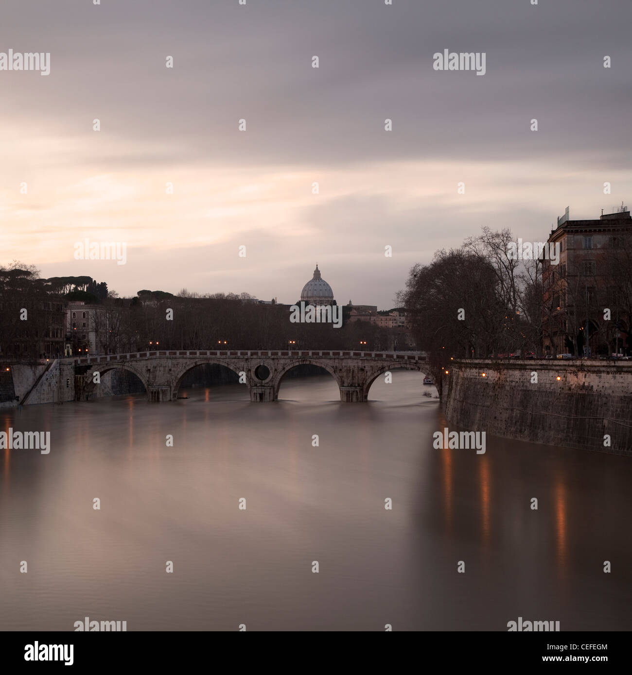 Time lapse view of bridge over river Stock Photo