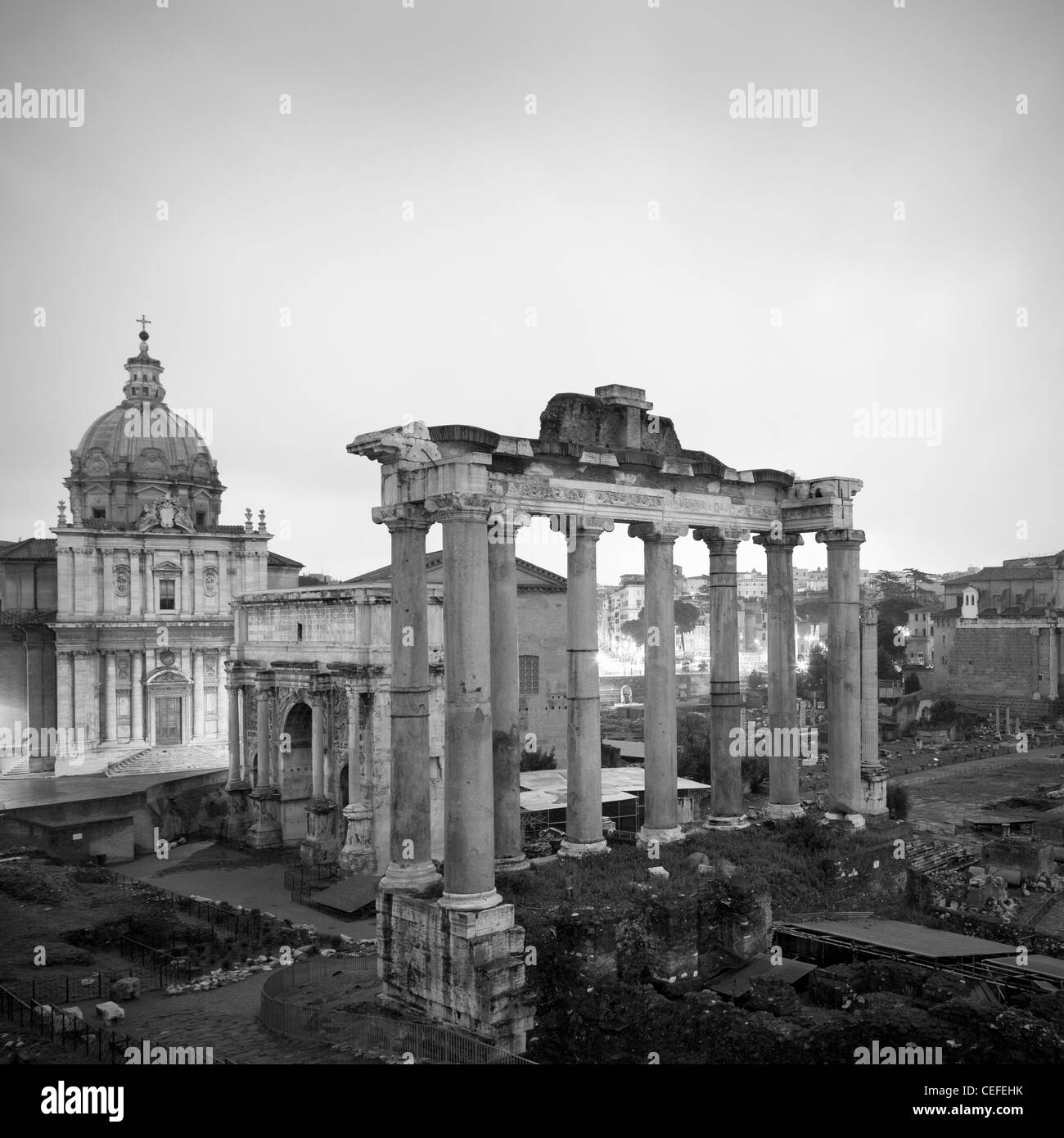 Aerial view of Roman Forum - Stock Image