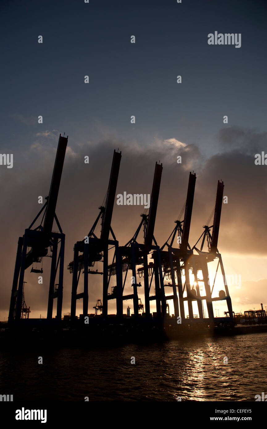 Container cranes in the port of Hamburg , Germany - Stock Image