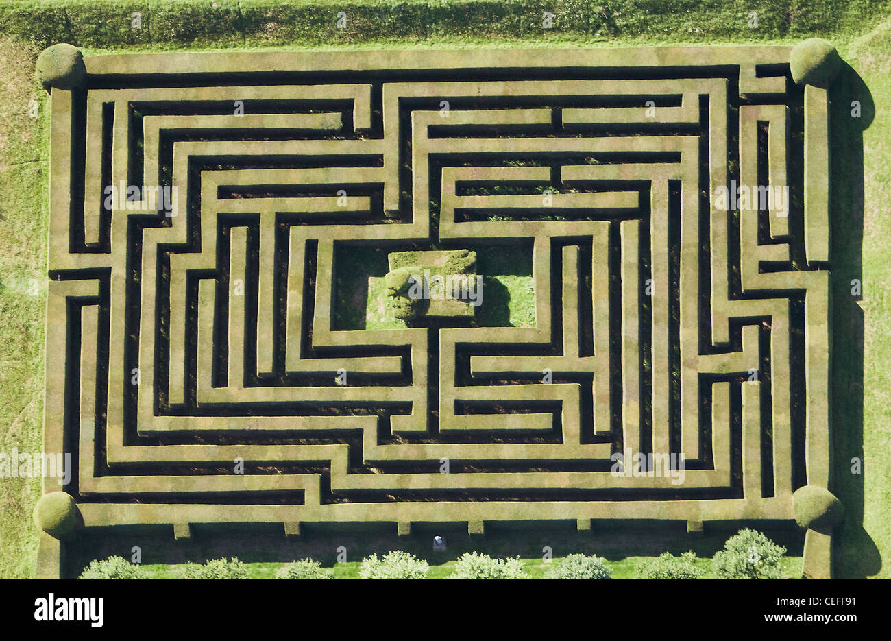 Aerial view of hedge maze - Stock Image