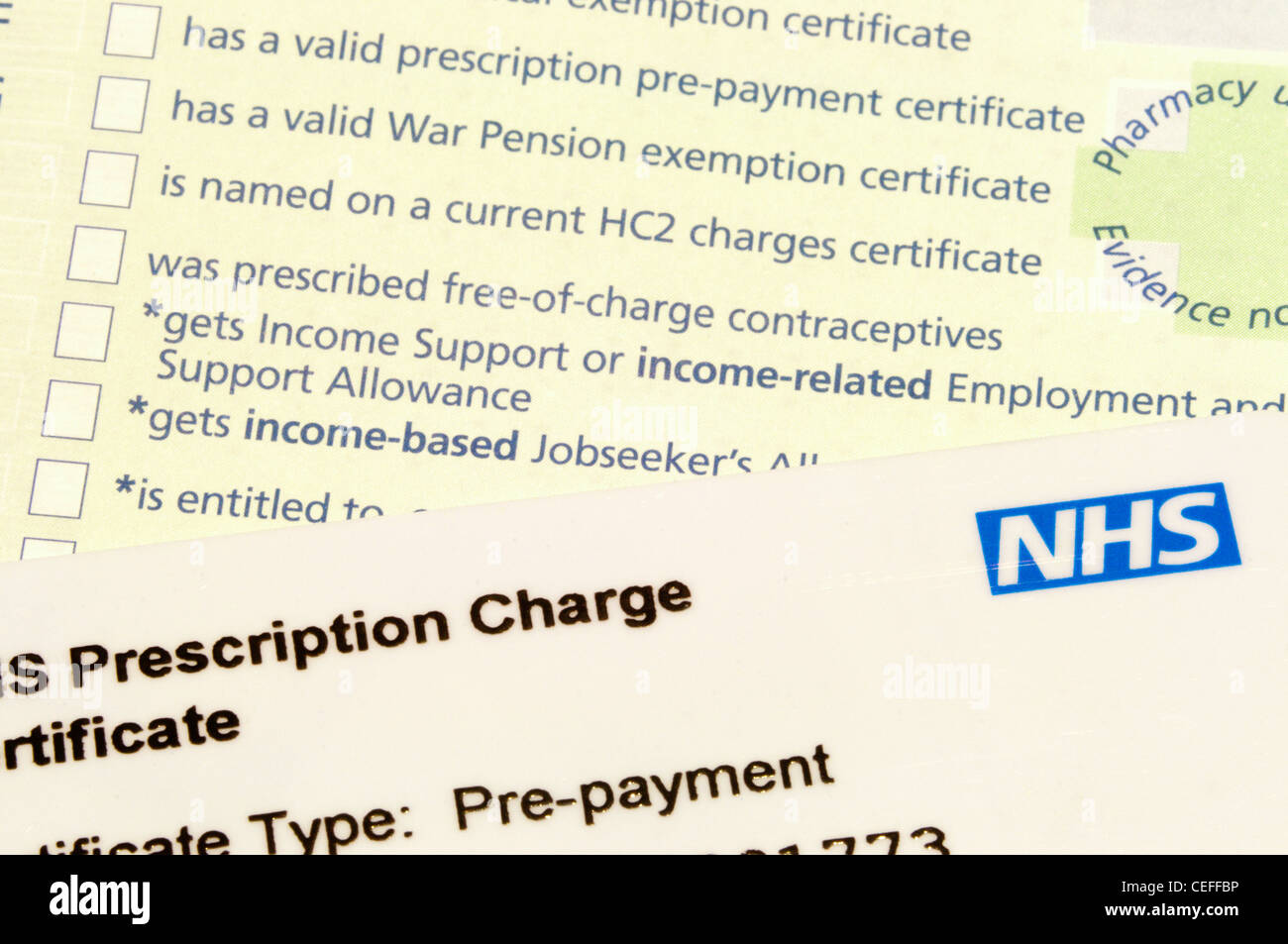 NHS pre-payment prescription charge card with a prescription in the background. - Stock Image