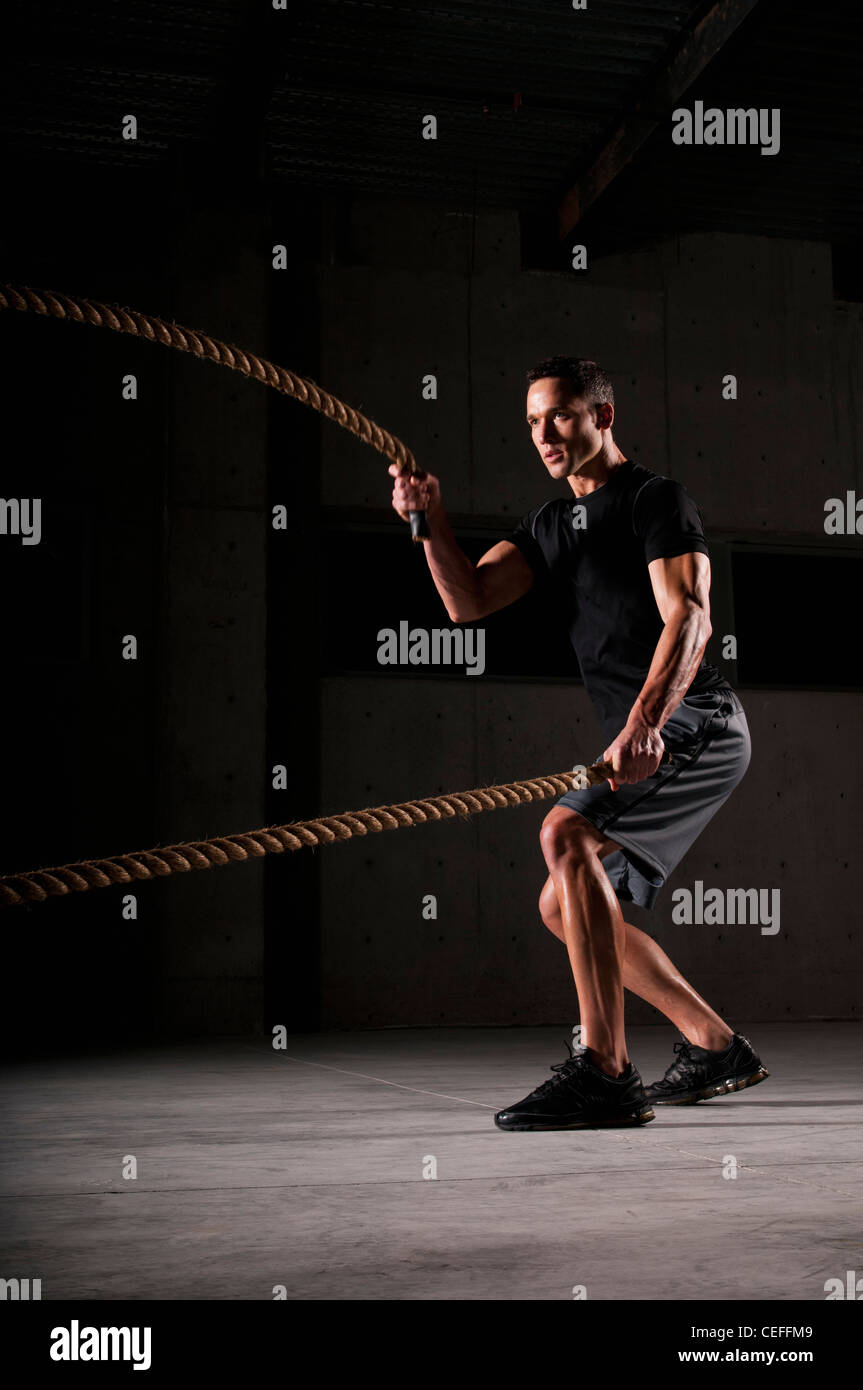 Athlete spinning jump ropes Stock Photo