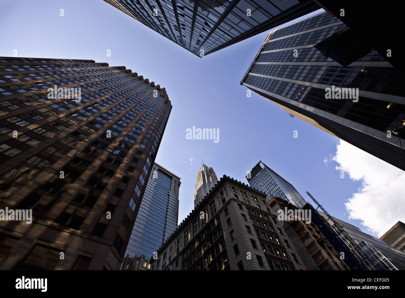 Low angle view of Manhattan skyscrapers - Stock Image