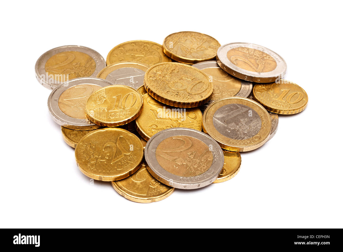 Pile of Euro coins - Stock Image