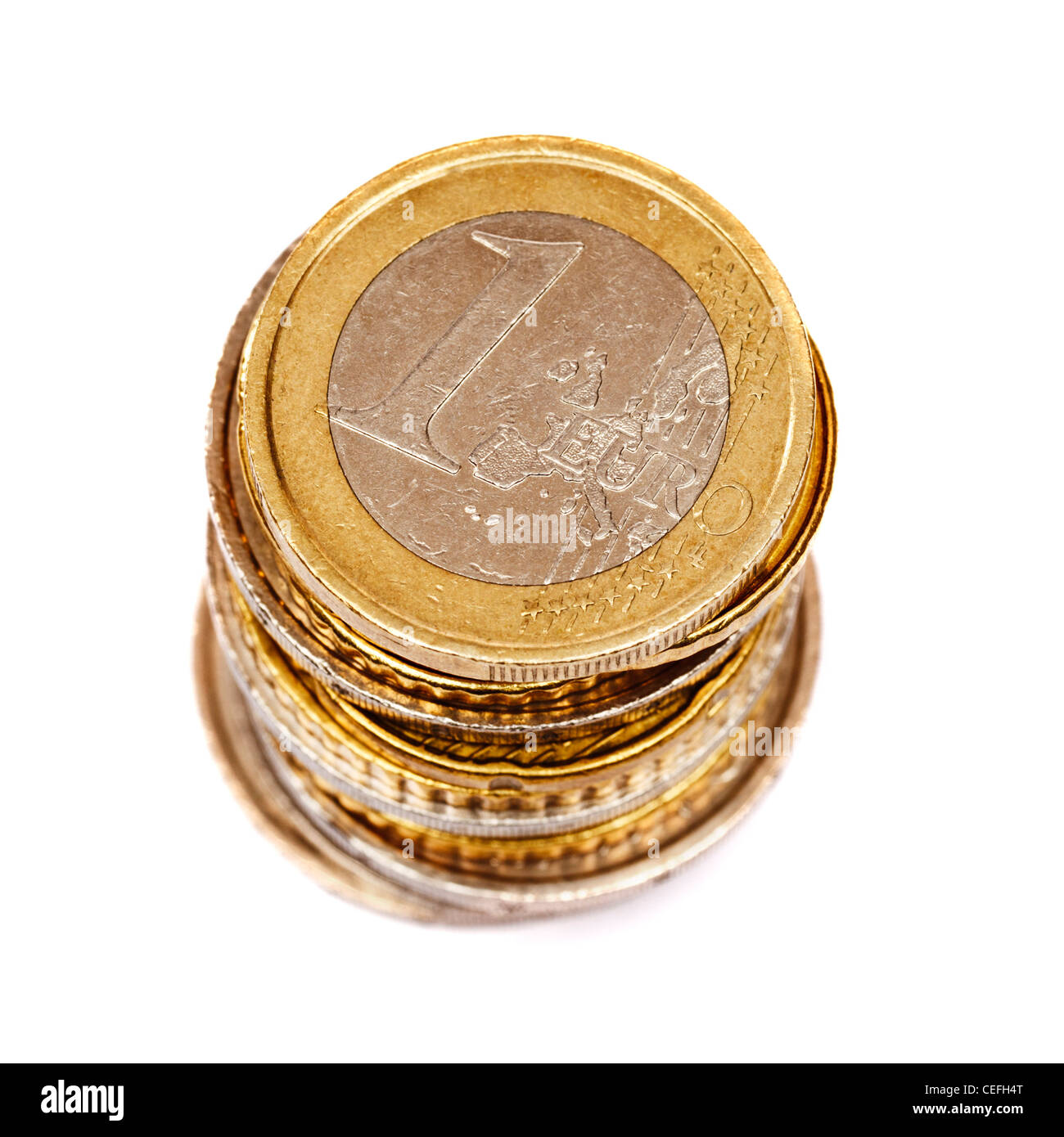 Euro coins stack on white background - Stock Image