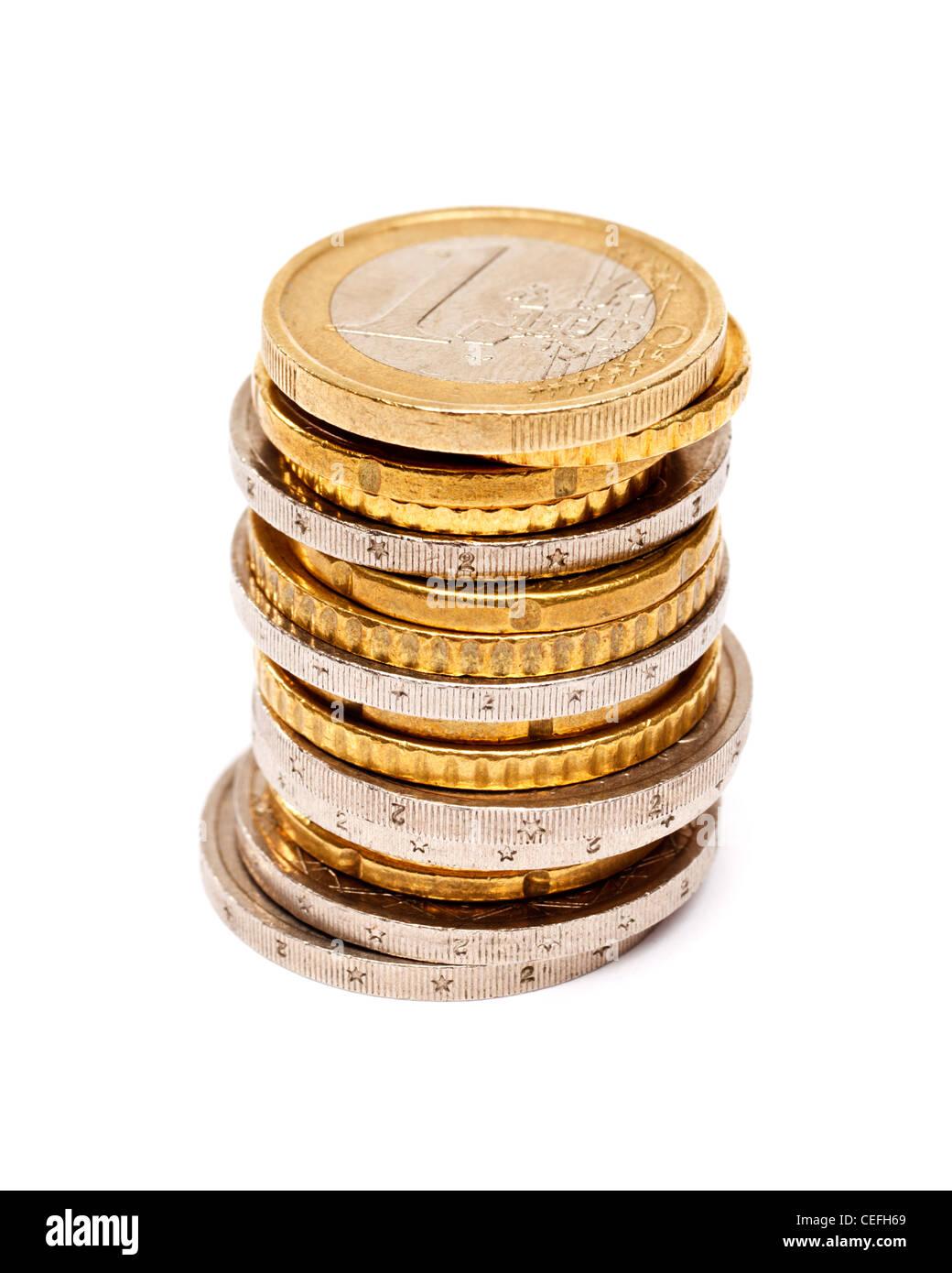 Euros coins stack on white background - Stock Image
