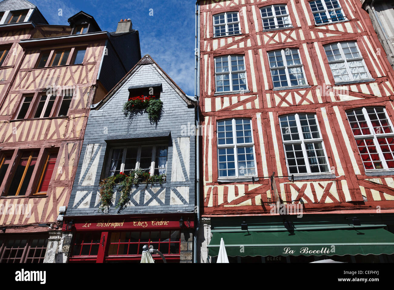Medieval half-timbered buildings in Rue Martainville, Rouen, Normandy, France - Stock Image
