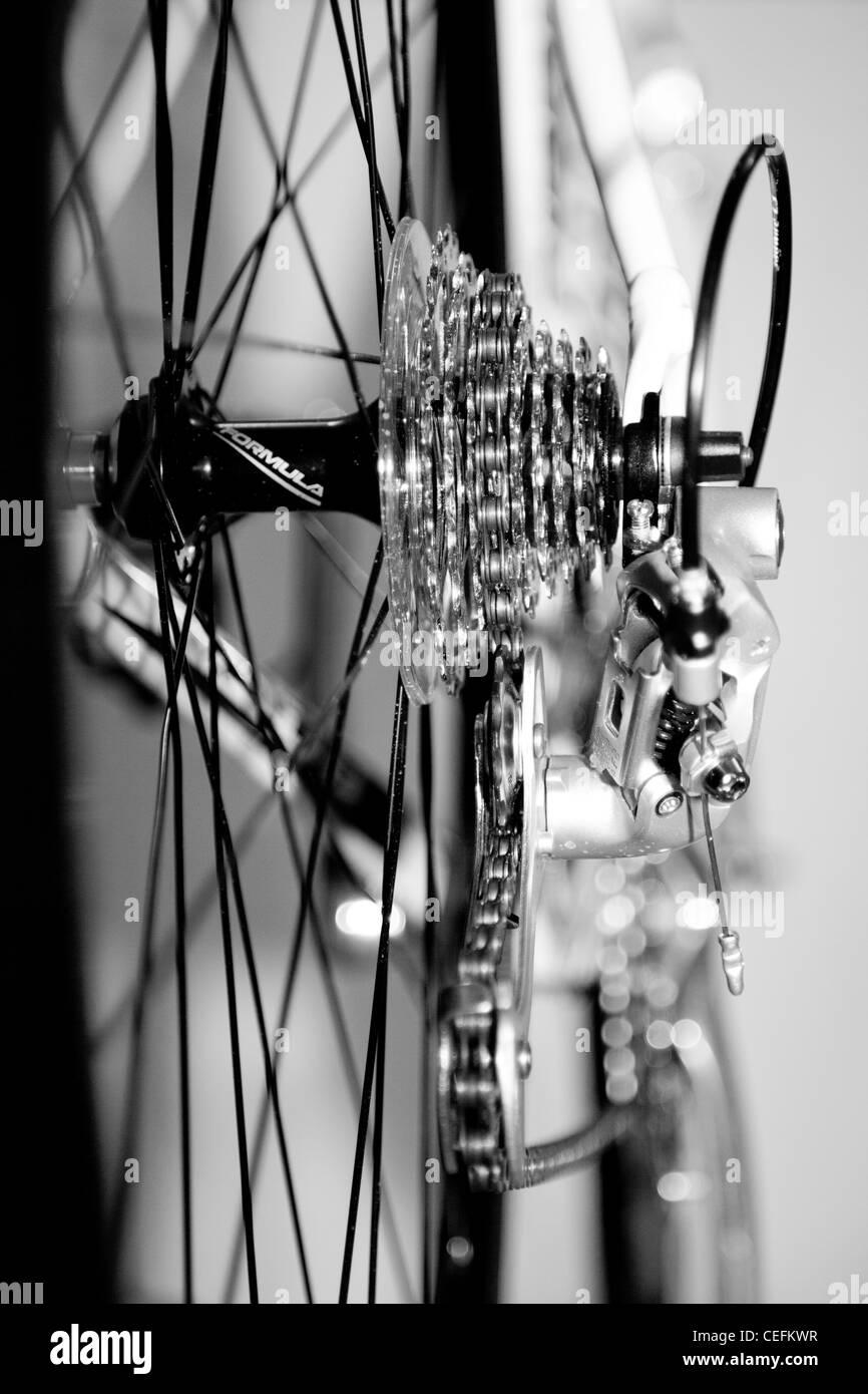 Racing bike bicycle rear derailleur sprockets gears - Stock Image