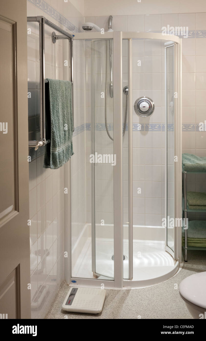 Shower Cubicle or enclosure, power shower, in-house - Stock Image