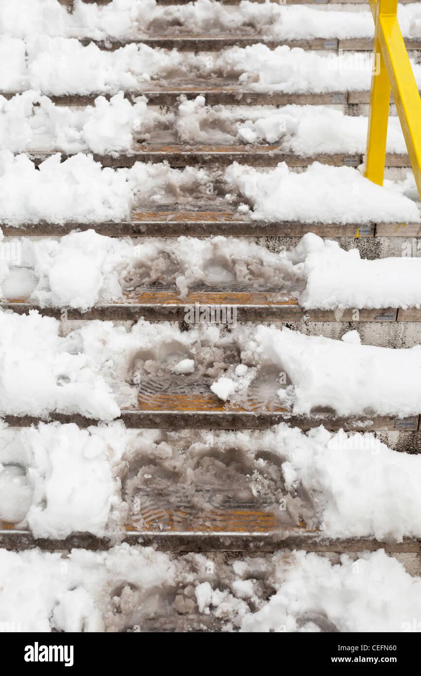 Snowy steps, England - Stock Image