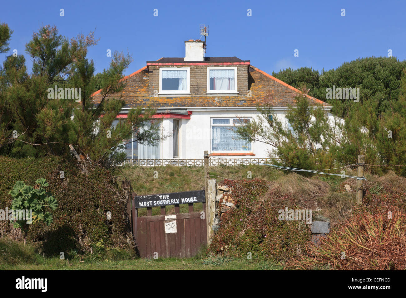 Lizard Point, Cornwall, England, UK. The most southerly house on the peninsula with a sign on the gate Stock Photo