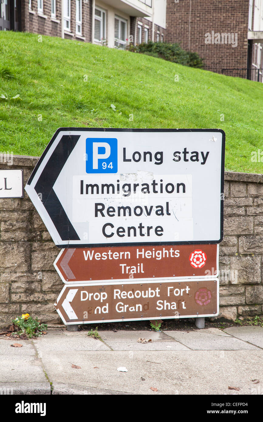 Immigration Removal Centre sign in Dover, England - Stock Image