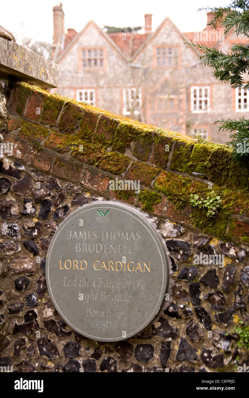 Chiltern Hills - Hambleden - manor house  - plaque for birth in 1797 of James Thomas Brudenell - Lord Cardigan - Stock Image