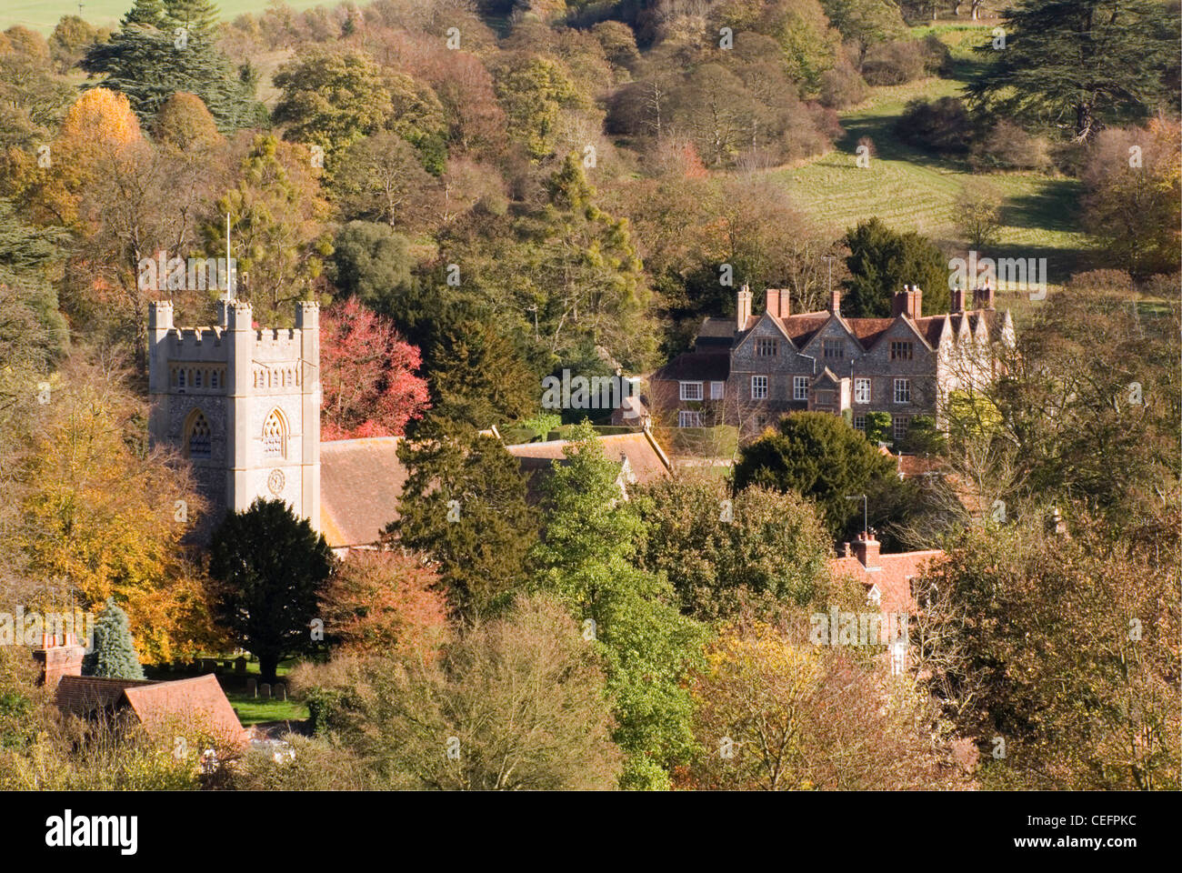 Chiltern Hills - Bucks -  Hambleden village - seen from hillside above - surrounded by trees - autumn colours - Stock Image