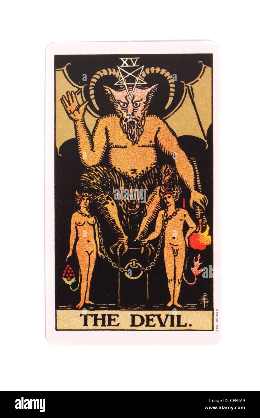 The Devil card from a traditional tarot pack. - Stock Image