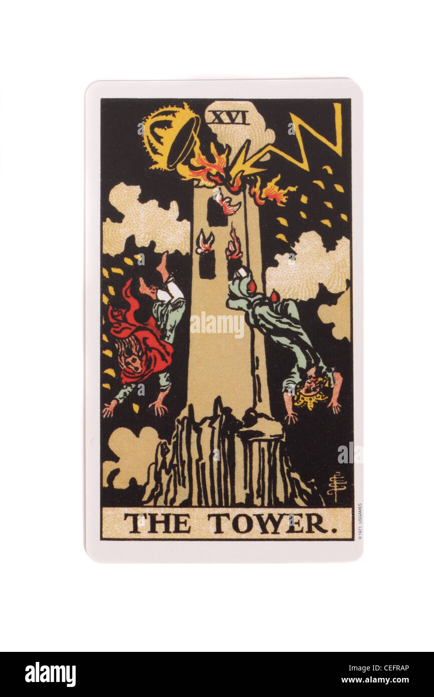 The Tower card from a traditional tarot pack. - Stock Image