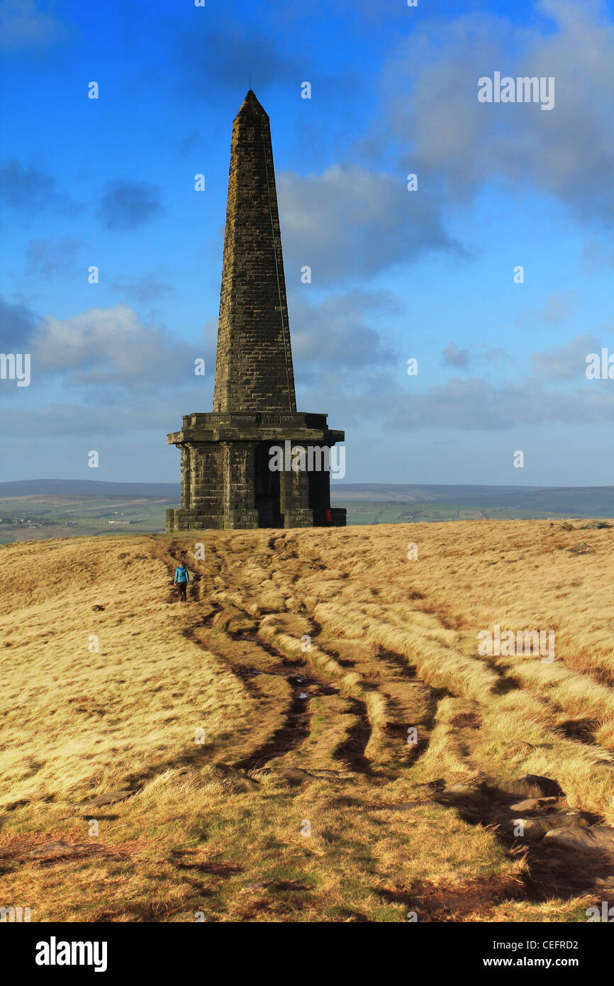 Stoodley Pike on the Pennine Way above Hebden Bridge in Calderdale - Stock Image