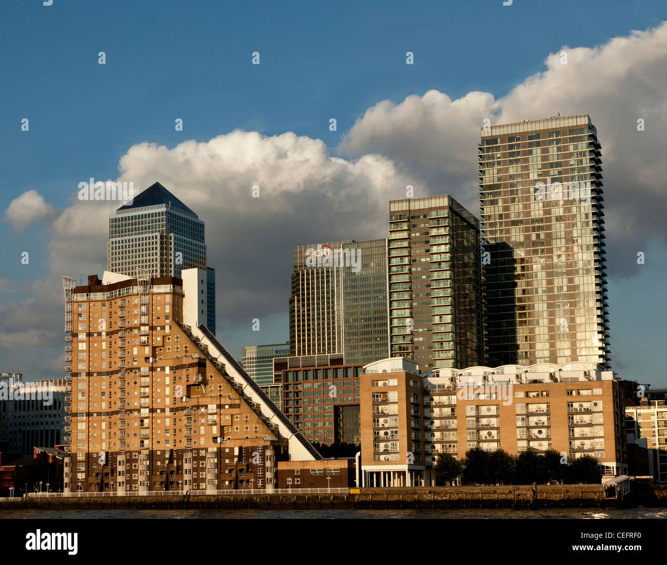 Canary Wharf on a sunny August day. - Stock Image