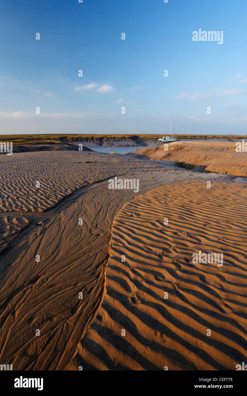 Beach at Uphill and River Axe Estuary. Weston-super-Mare, Somerset, England, UK. - Stock Image