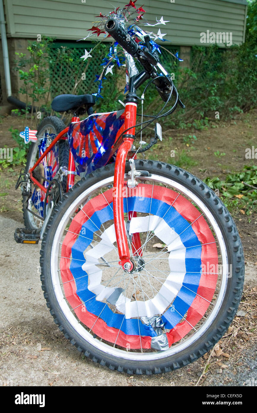 Children Bike Decorated In American Flags Prepared For 4th