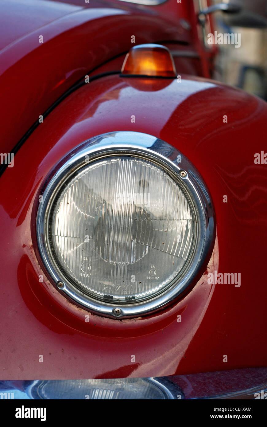 Old vintage classic VW Beatle car closeup - Stock Image