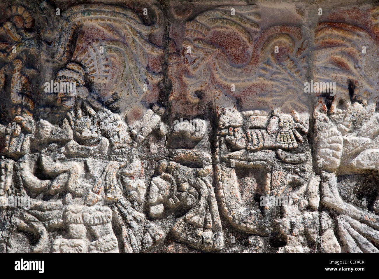 Pictorial relief, Chichen Itza, Yucatan. Mexico - Stock Image