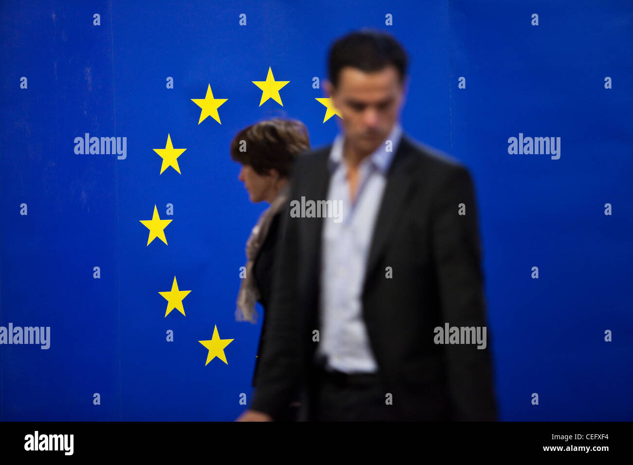 European Union flag and people - Stock Image
