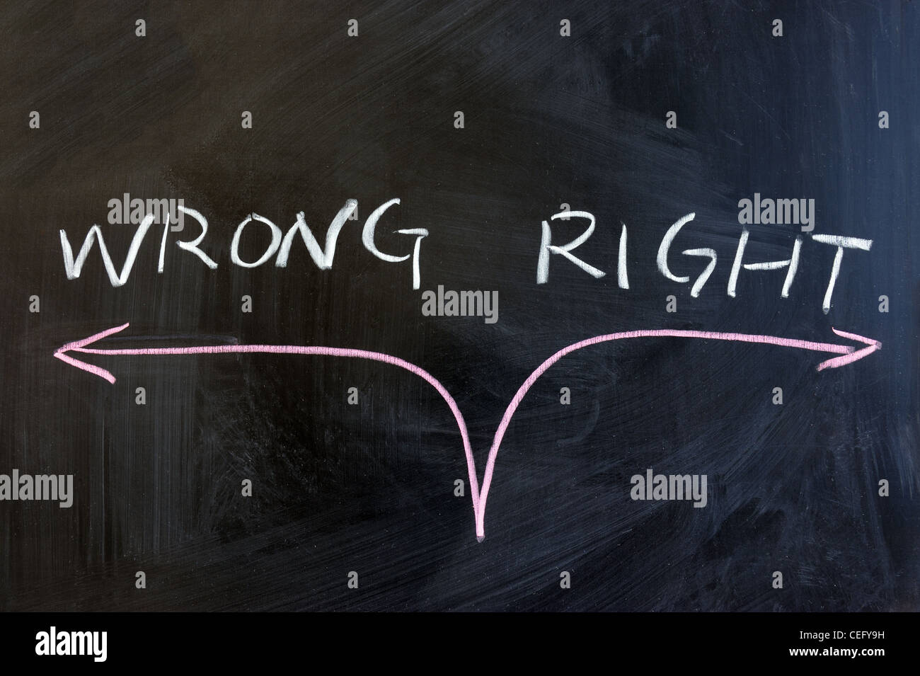 Chalk drawing - concept of right or wrong Stock Photo