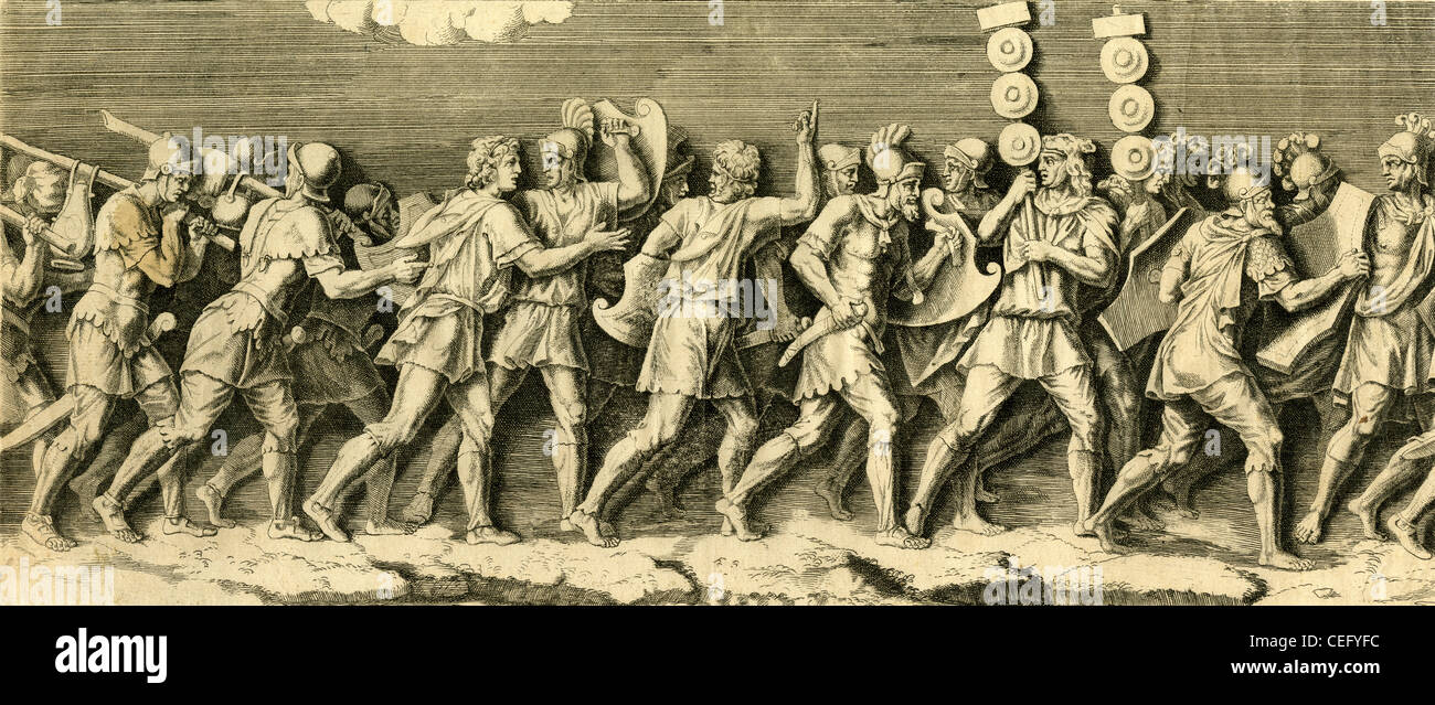 Circa 1790s engraving, Greek or Roman Soldiers on the march. Stock Photo