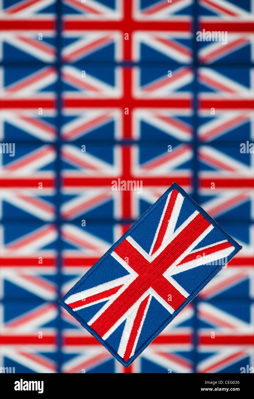 Union Jack flag embroidered patch pattern Stock Photo