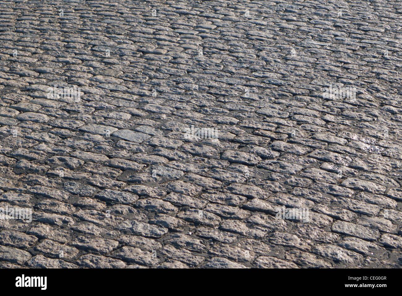 Cobblestone street surface, Red Hook, Brooklyn, USA - Stock Image
