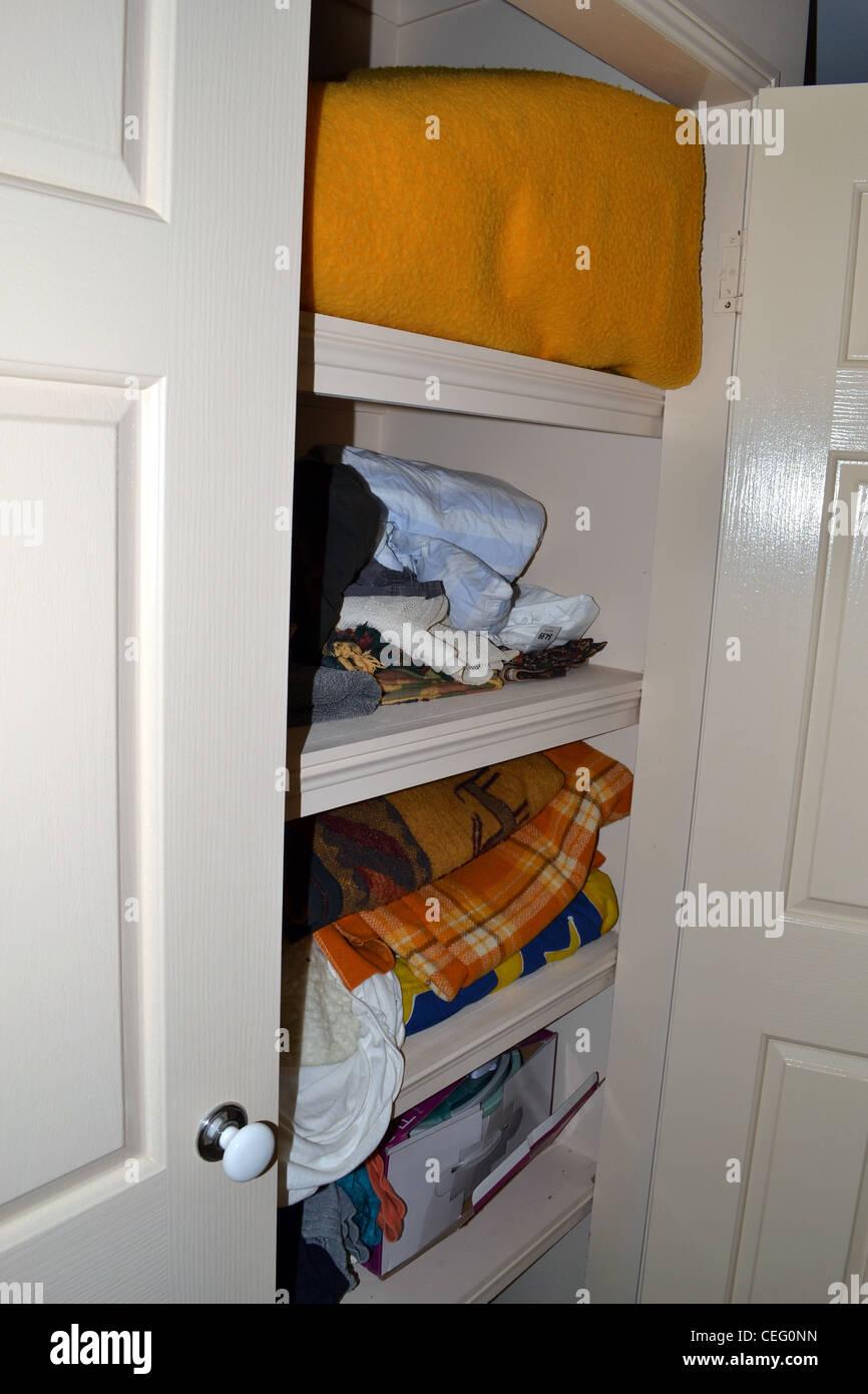 linen closet - Stock Image