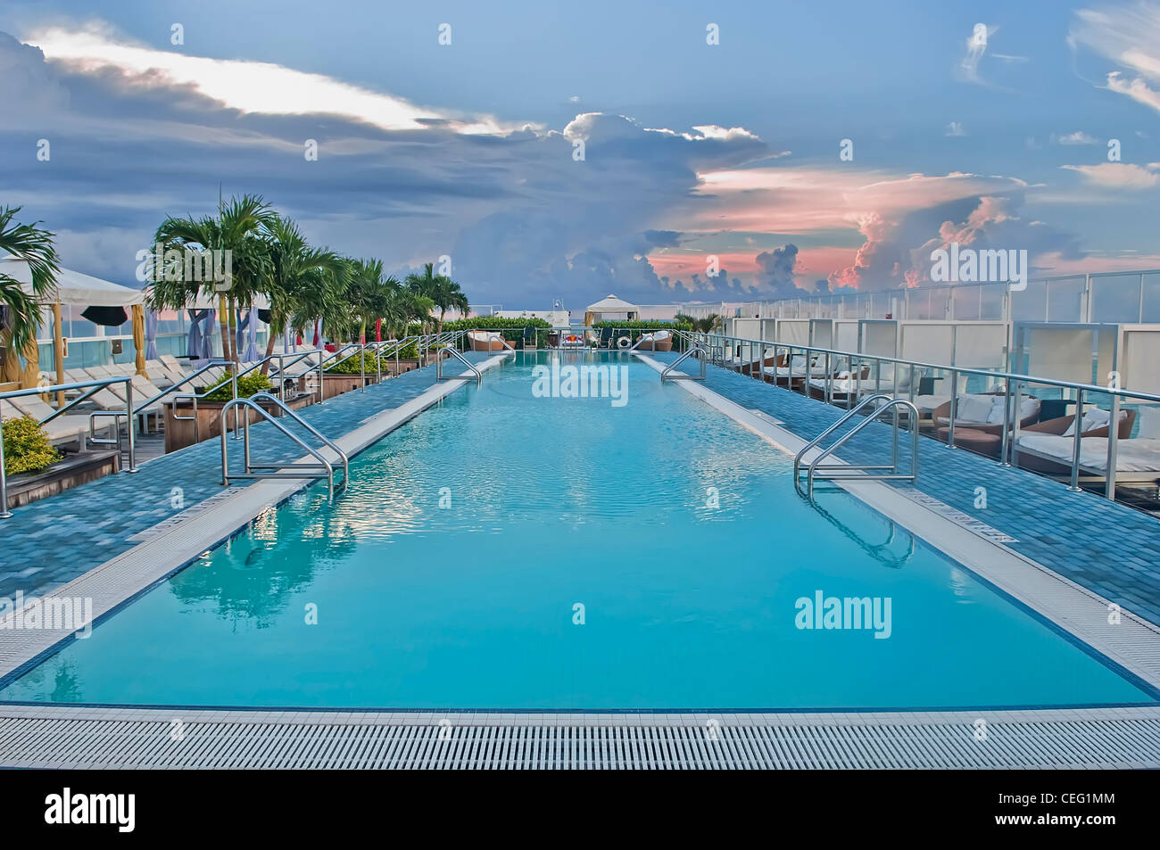 perry hotel south beach roof top pool stock image