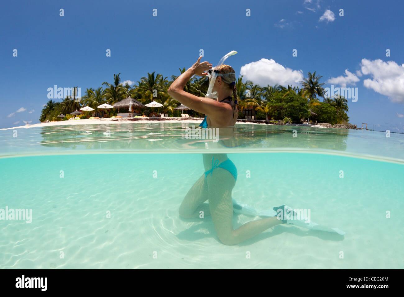 Vacation at Maldives, North Male Atoll, Indian Ocean, Maldives - Stock Image