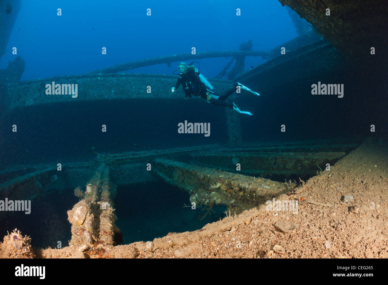 Scuba Diver over Cargo Space of Maldive Victory Wreck, North Male Atoll, Indian Ocean, Maldives - Stock Image