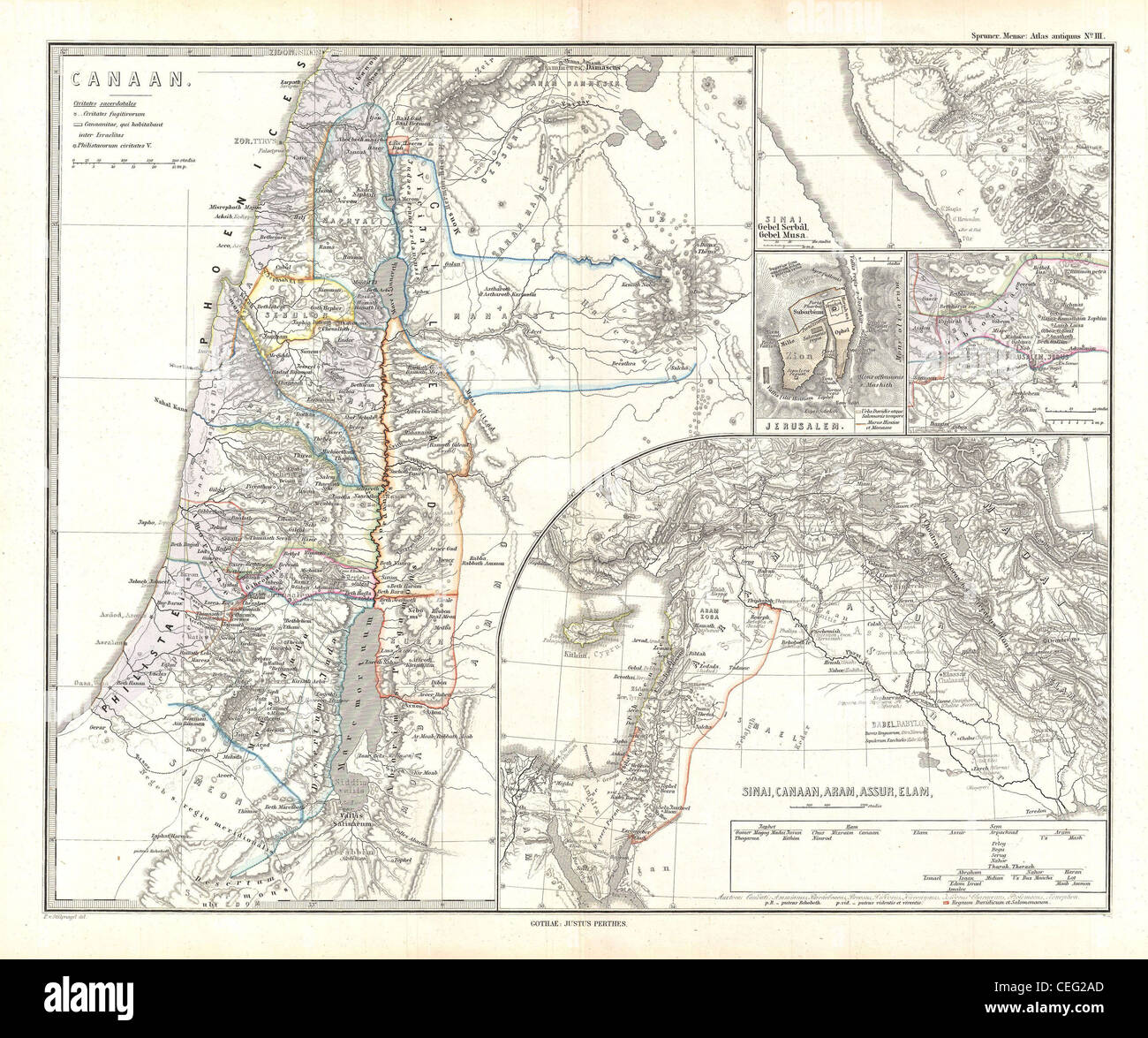 1865 Spruner Map of Israel, Canaan, or Palestine in Ancient Times - Stock Image