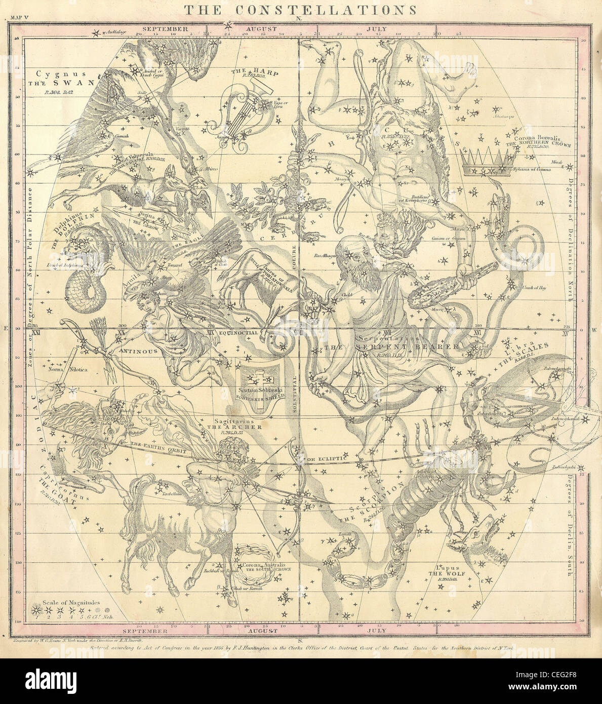 1856 Burritt / Huntington Map of the Constellations or Stars in July, August & September - Stock Image
