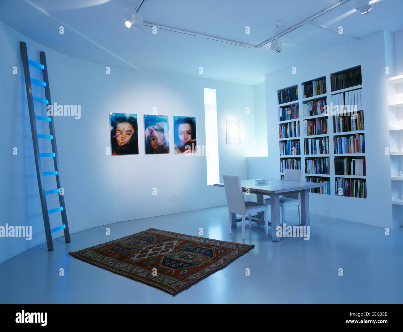 Ladder-shaped lighting and small oriental rug in modern white dining room with shiny white floor and recessed bookshelves - Stock Image
