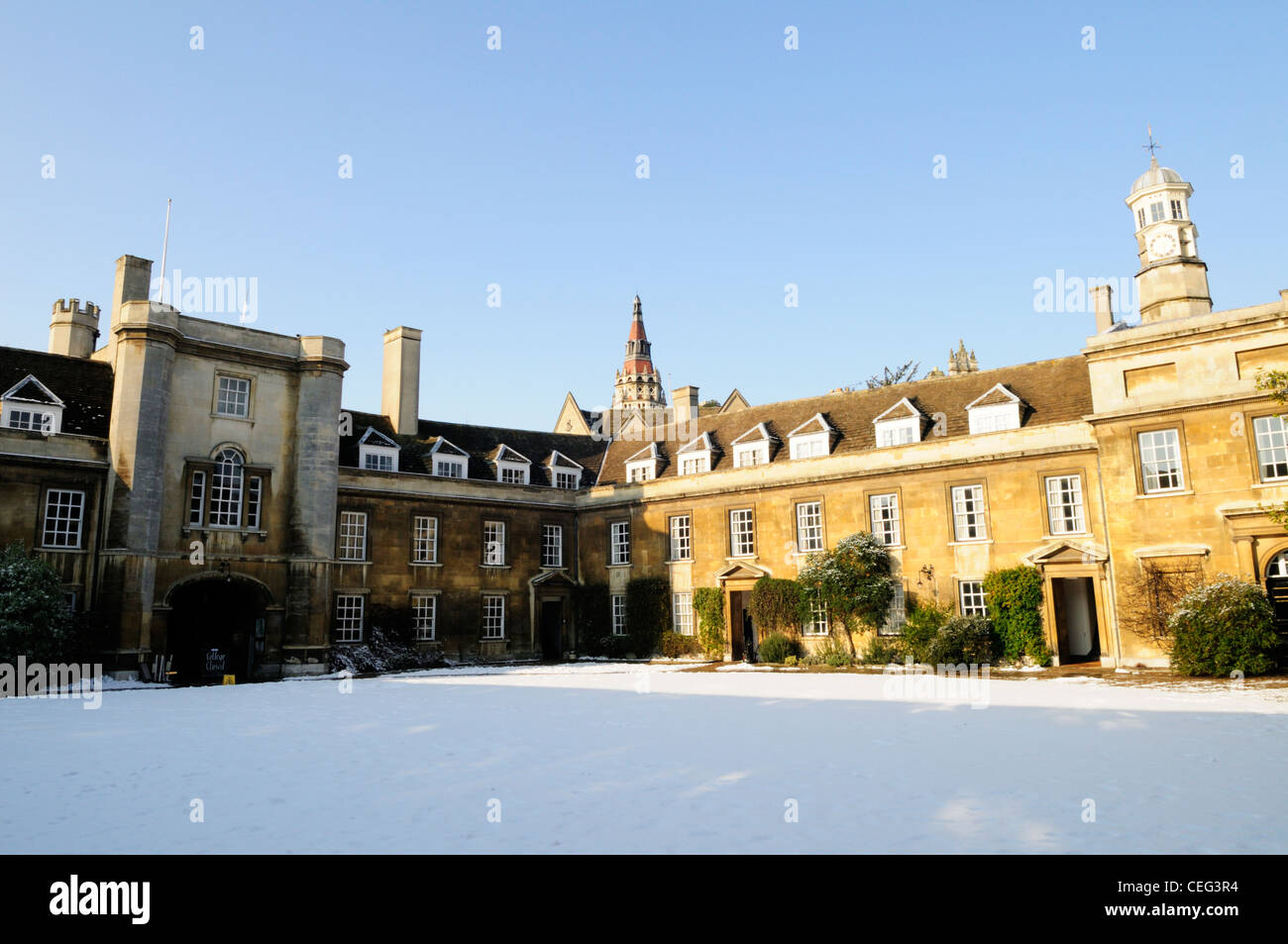 Christs College in Winter, Cambridge, England, UK - Stock Image