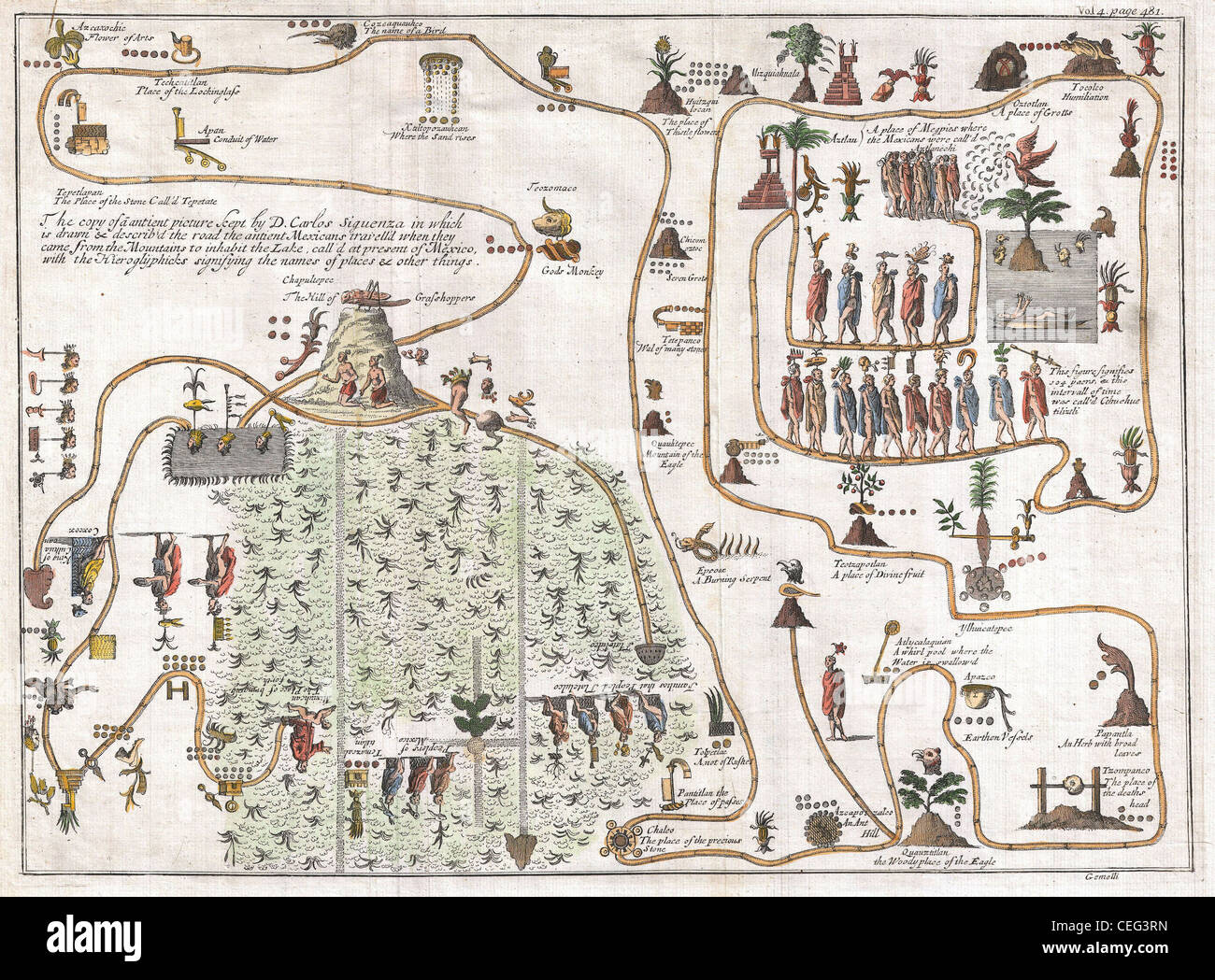 1704 Gemelli Map of the Aztec Migration from Aztlan to Chapultapec - Stock Image
