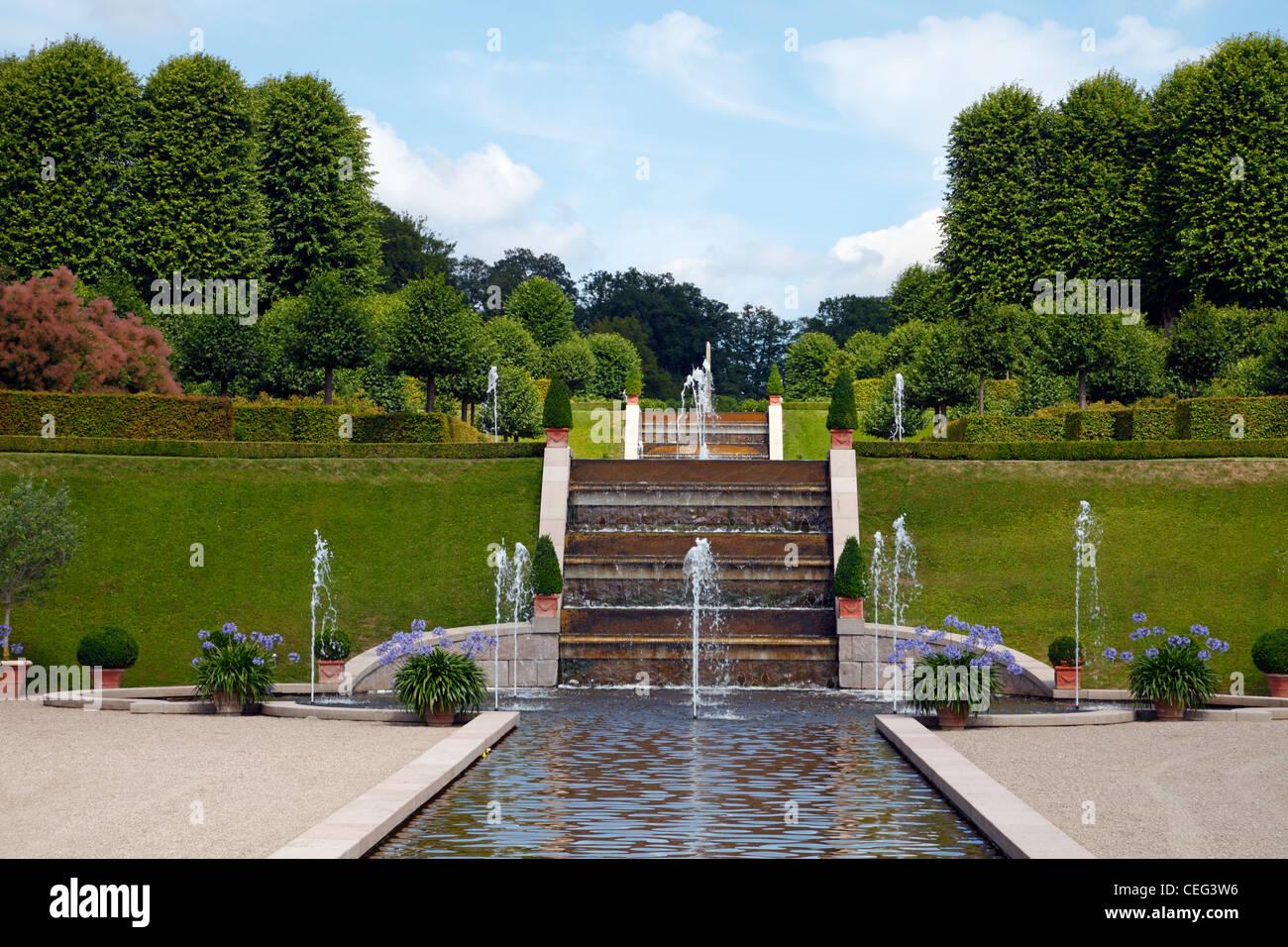 The cascade in The Baroque Garden at The Frederiksborg Castle in Hillerød, Denmark - Stock Image