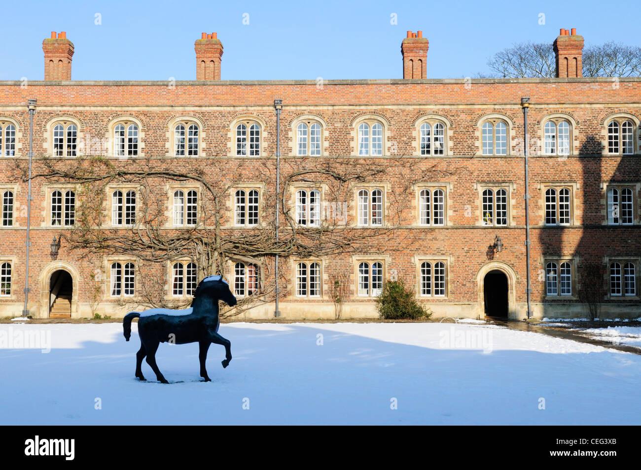 Jesus College in Winter, Cambridge, England, UK - Stock Image