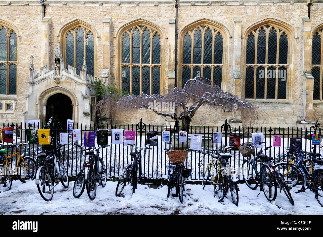 Bicycles outside Great St Mary's Church, Cambridge, England, UK - Stock Image