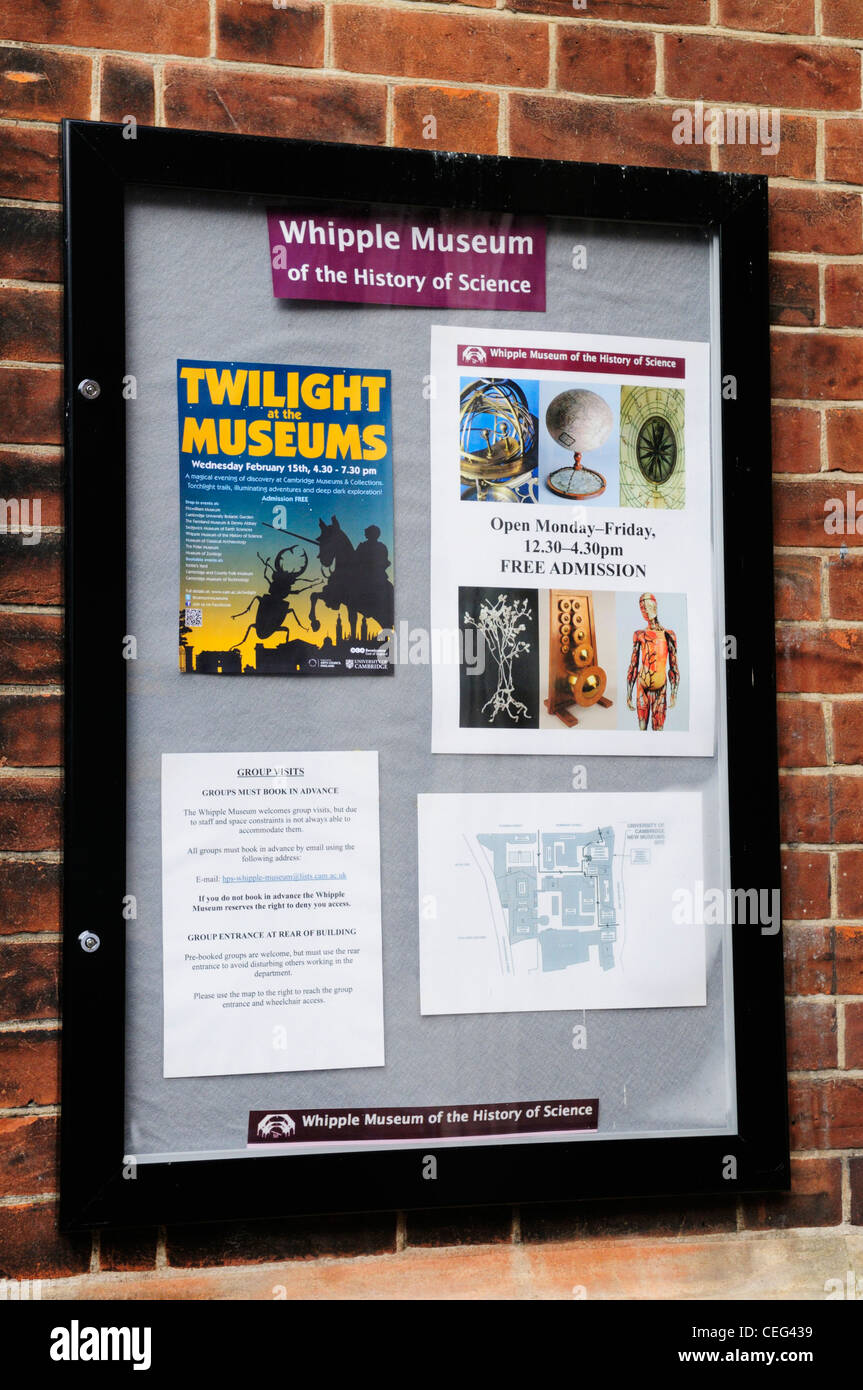 Whipple Museum of The History of Science Sign, Free School Lane, Cambridge, England, UK - Stock Image