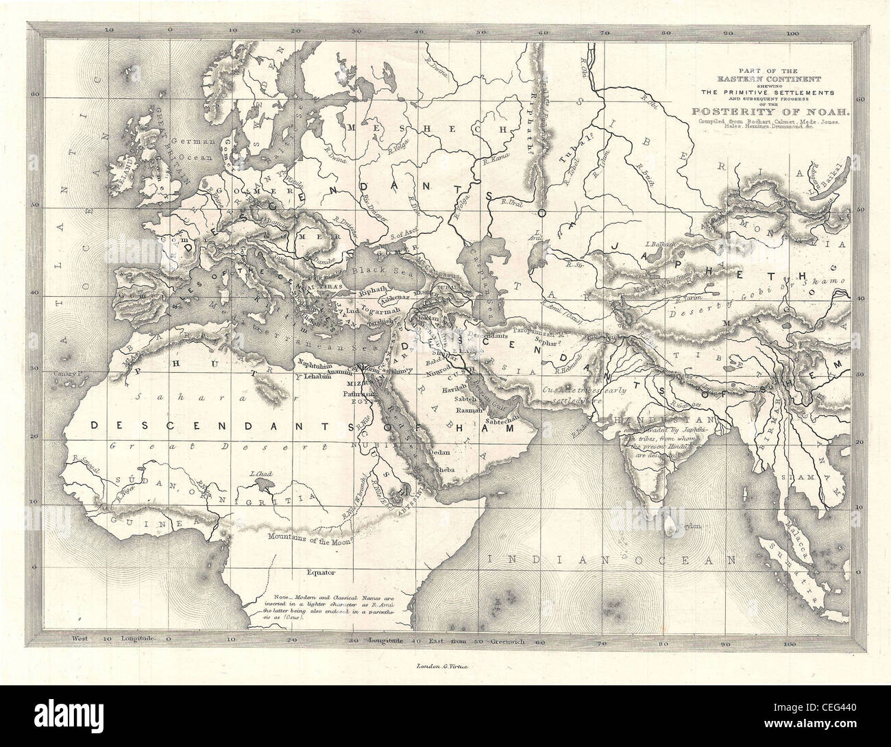 1850s Map Of The World Of The Biblical Noah Stock Photo 43380400