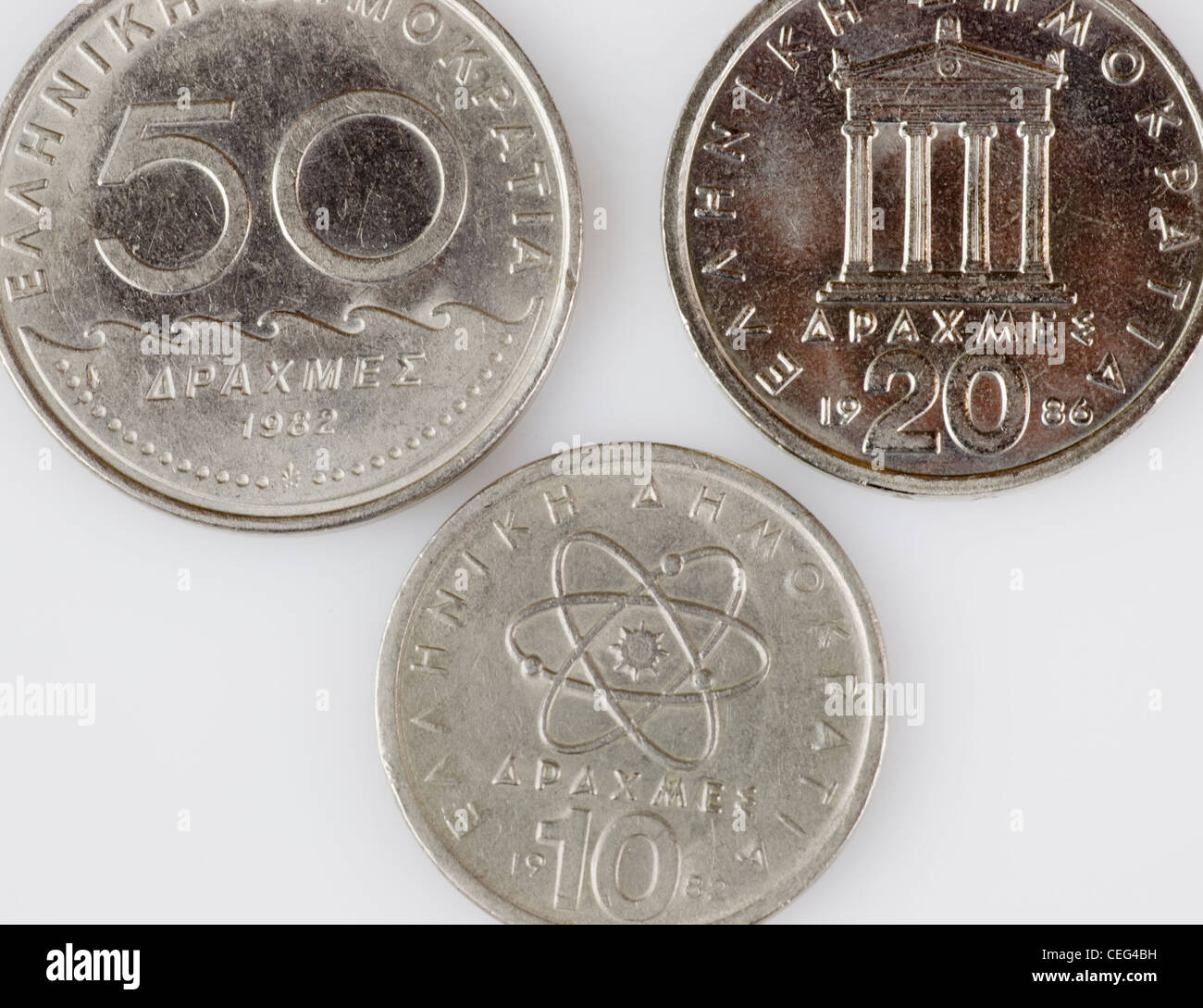 Drachma, former Greek currency coins Stock Photo