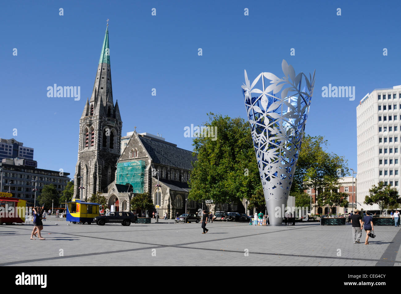 The symbolic 'Chalice' and Christchurch Cathedral in Cathedral Square, Christchurch,New Zealand. - Stock Image