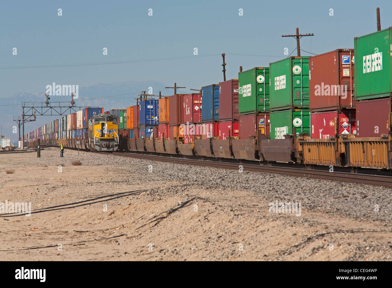 Freight Trains Carrying Intermodal Shipping Containers - Stock Image