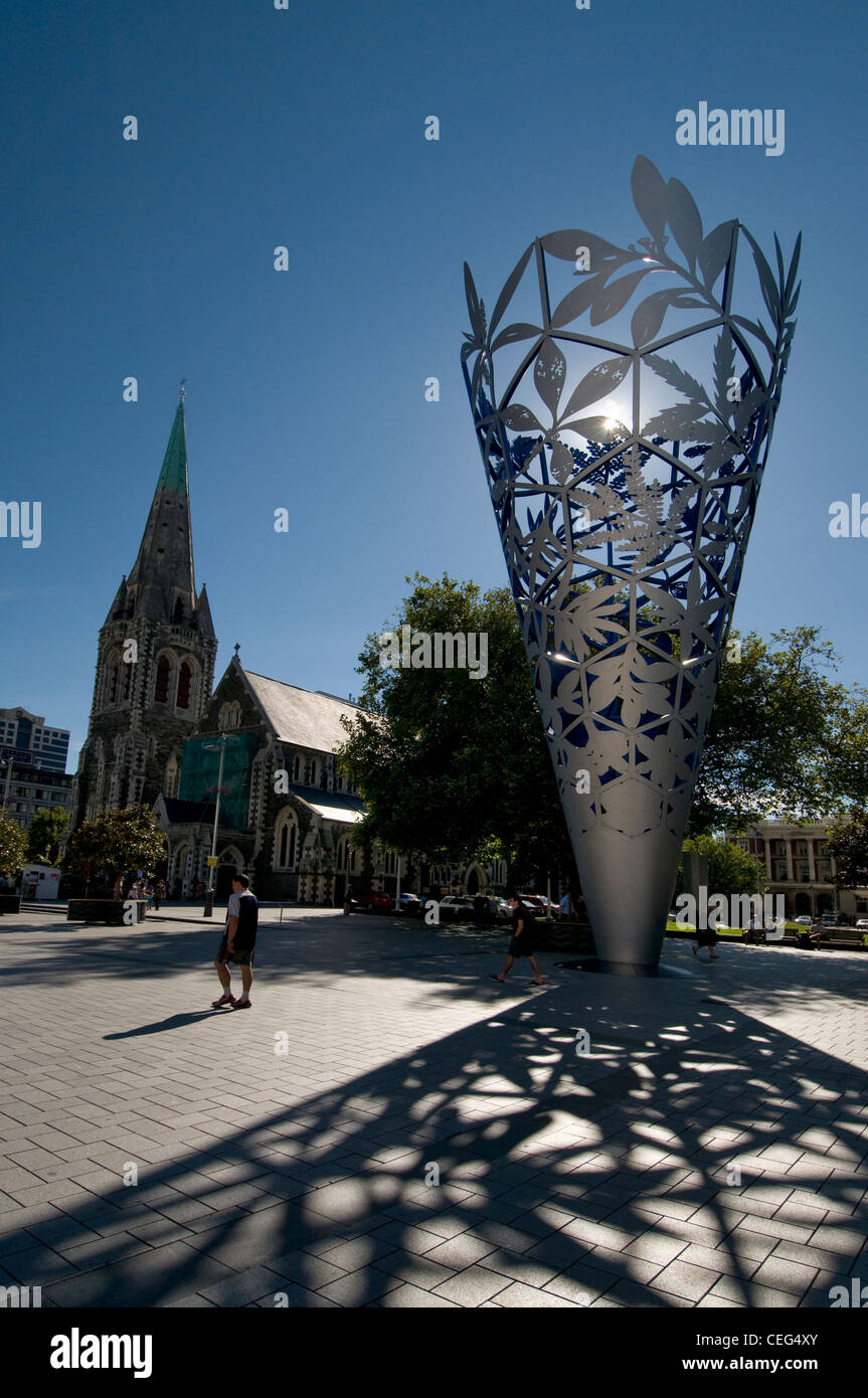 Early morning light on Christchurch Cathedral and the symbolic 'Chalice' in Cathedral Square, Christchurch, - Stock Image