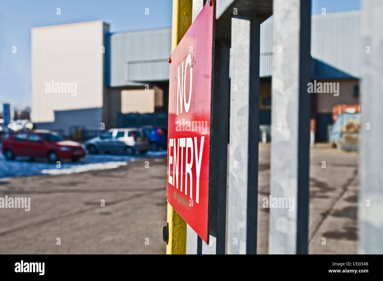 A 'No Entry' sign in a Lincoln retail park, UK - Stock Image